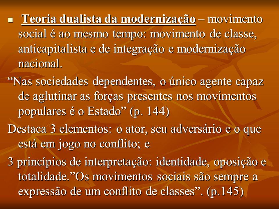 Teoria dualista da modernização – movimento social é ao mesmo tempo: movimento de classe, anticapitalista e de integração e modernização nacional.