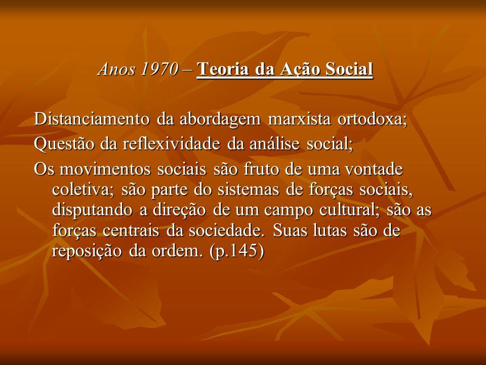 Anos 1970 – Teoria da Ação Social
