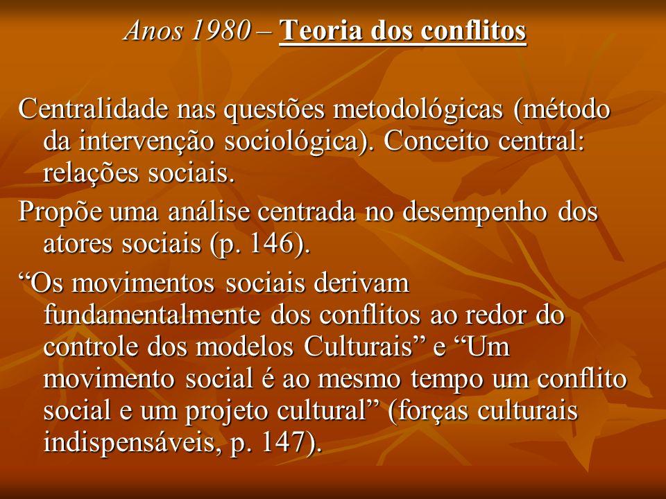 Anos 1980 – Teoria dos conflitos