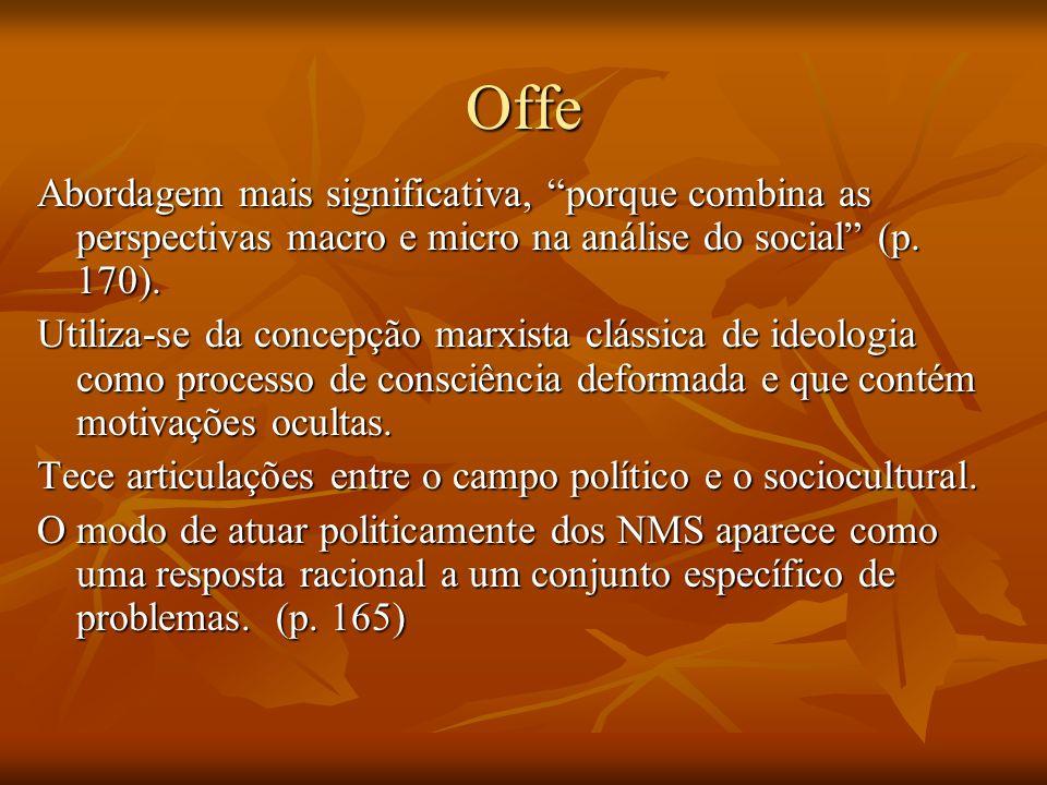 Offe Abordagem mais significativa, porque combina as perspectivas macro e micro na análise do social (p. 170).