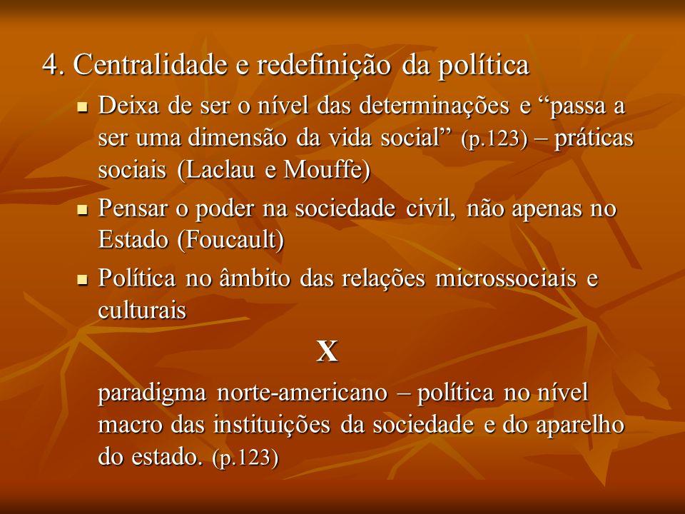 4. Centralidade e redefinição da política