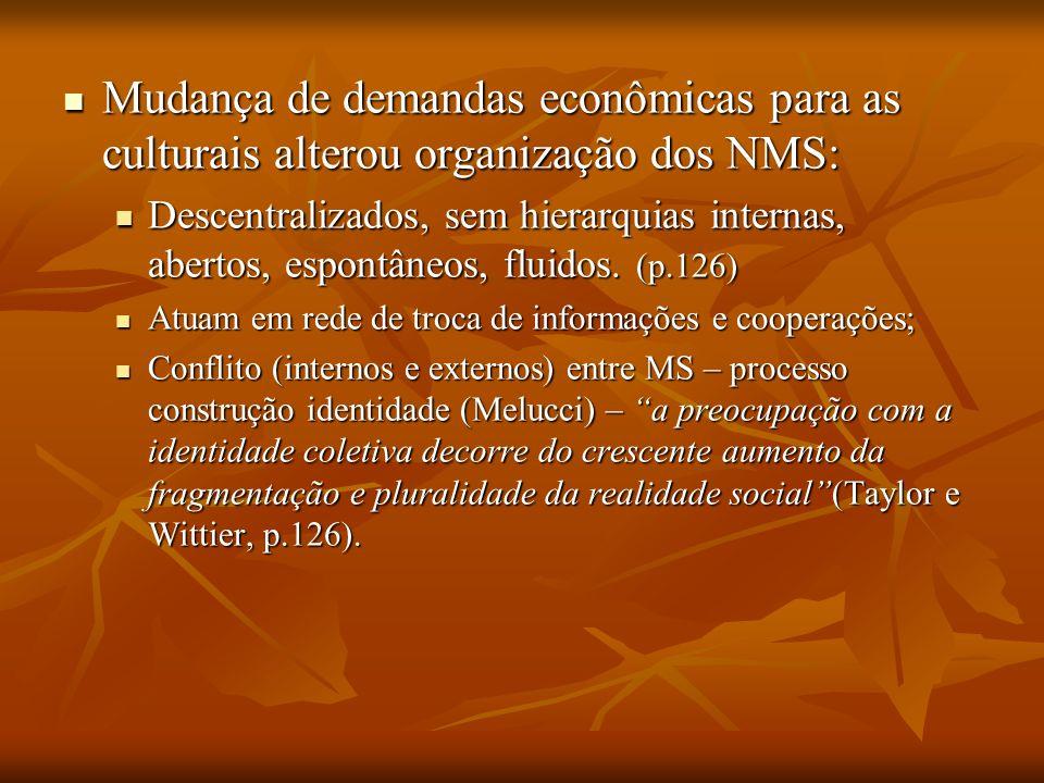 Mudança de demandas econômicas para as culturais alterou organização dos NMS: