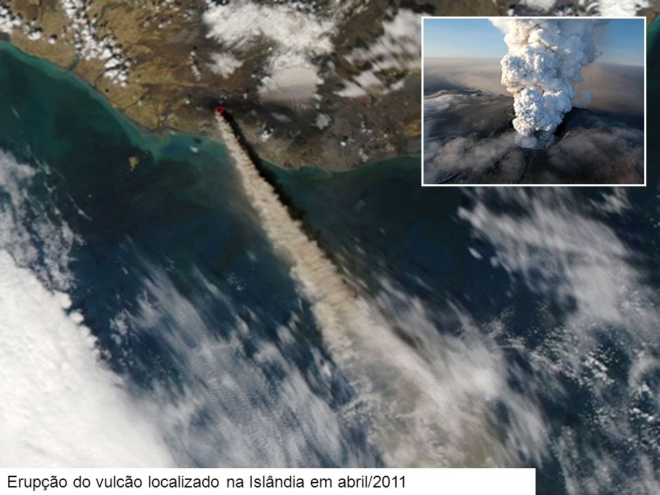 Erupção do vulcão localizado na Islândia em abril/2011
