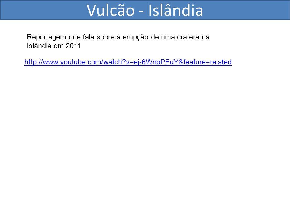 Vulcão - Islândia Reportagem que fala sobre a erupção de uma cratera na Islândia em 2011.