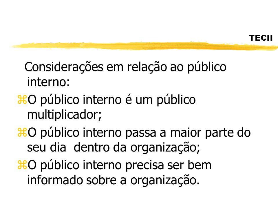 Considerações em relação ao público interno: