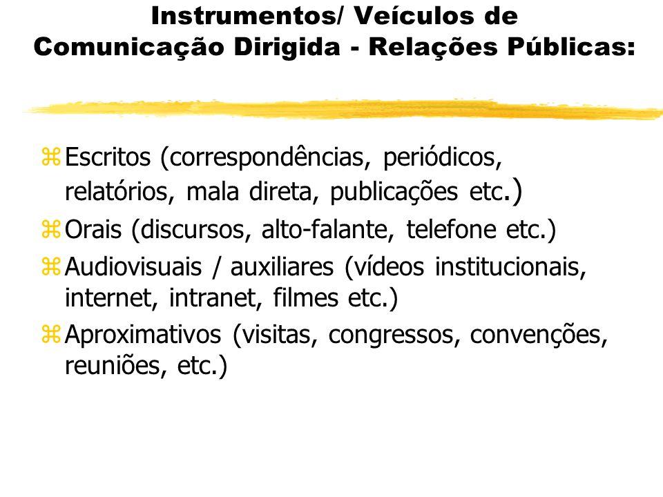 Instrumentos/ Veículos de Comunicação Dirigida - Relações Públicas: