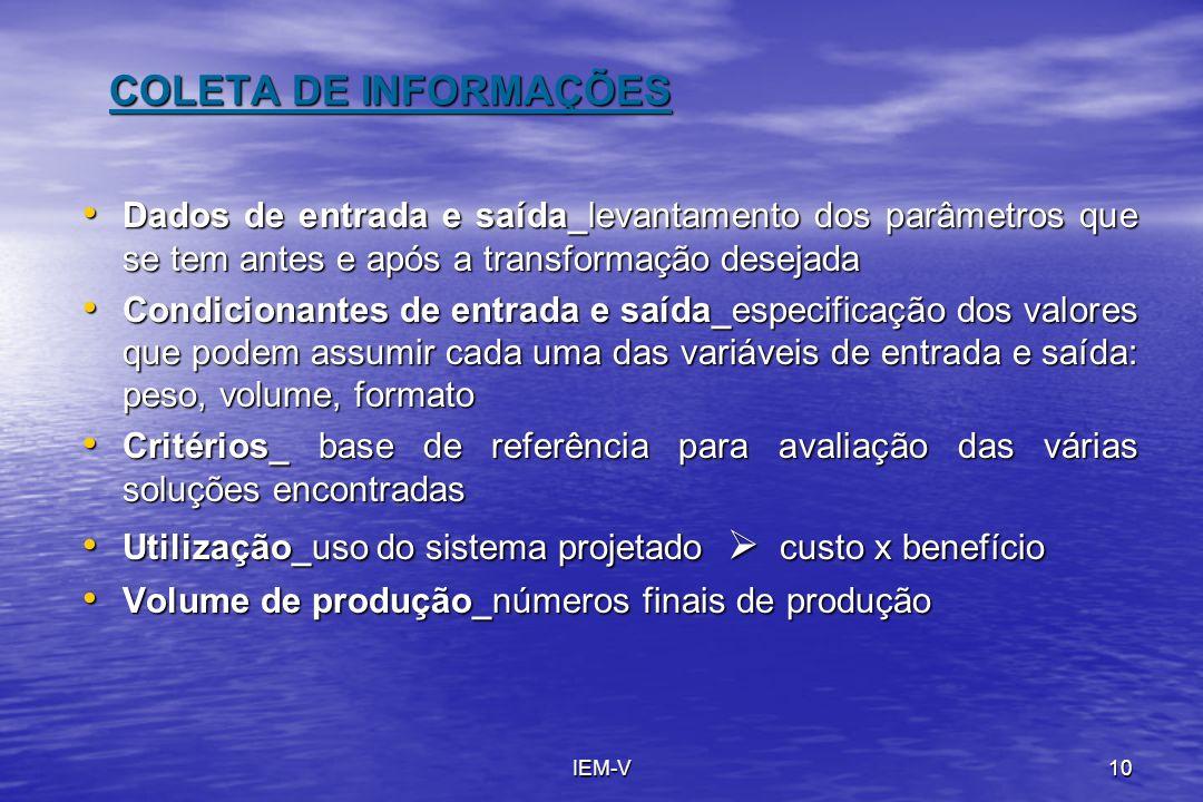 COLETA DE INFORMAÇÕES Dados de entrada e saída_levantamento dos parâmetros que se tem antes e após a transformação desejada.