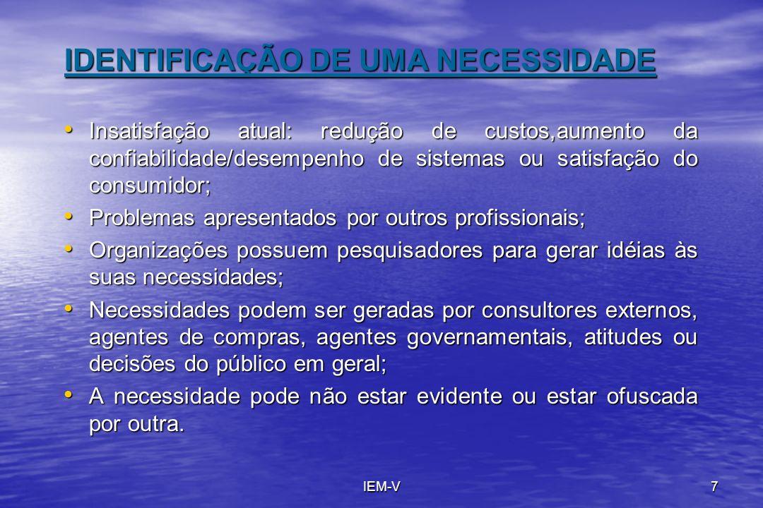 IDENTIFICAÇÃO DE UMA NECESSIDADE