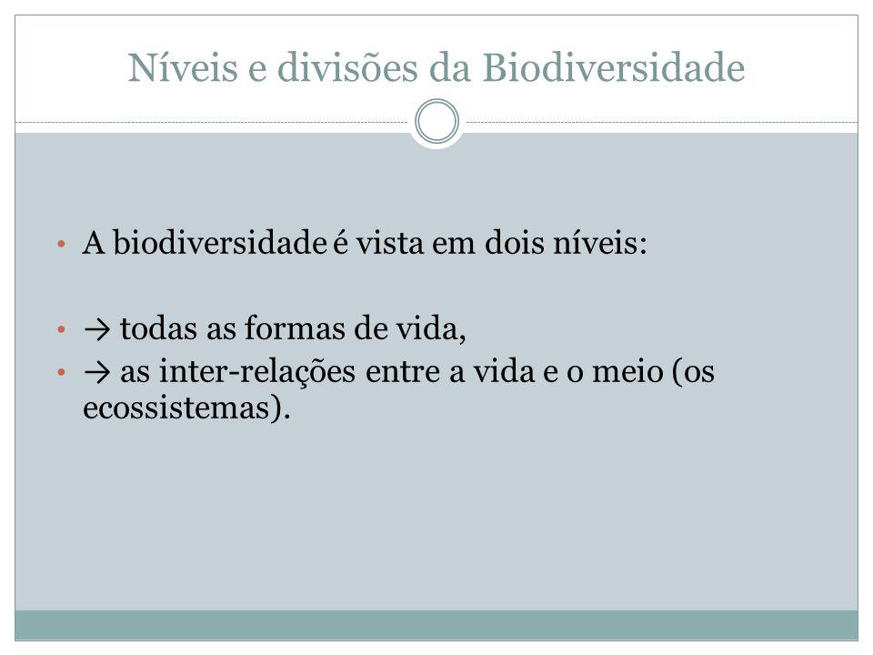 Níveis e divisões da Biodiversidade