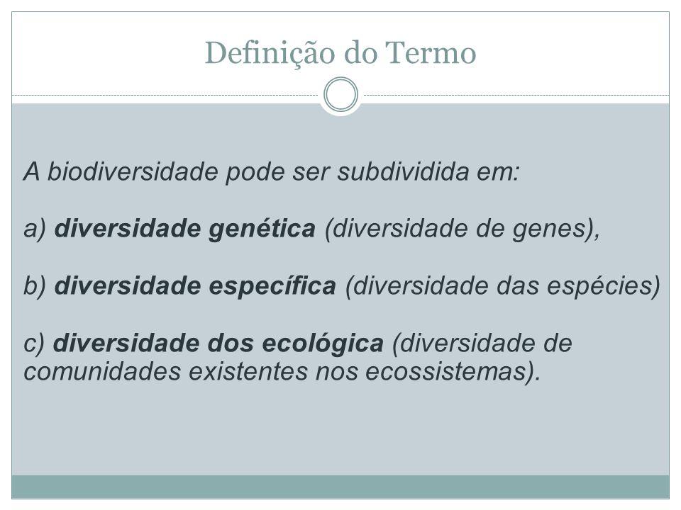 Definição do Termo A biodiversidade pode ser subdividida em: