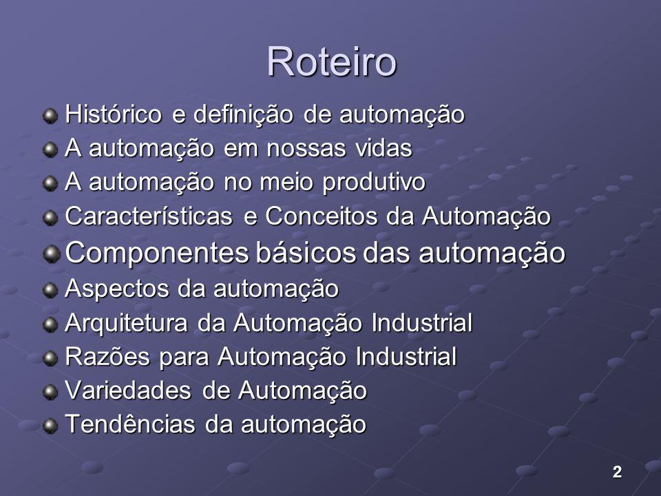 Roteiro Componentes básicos das automação