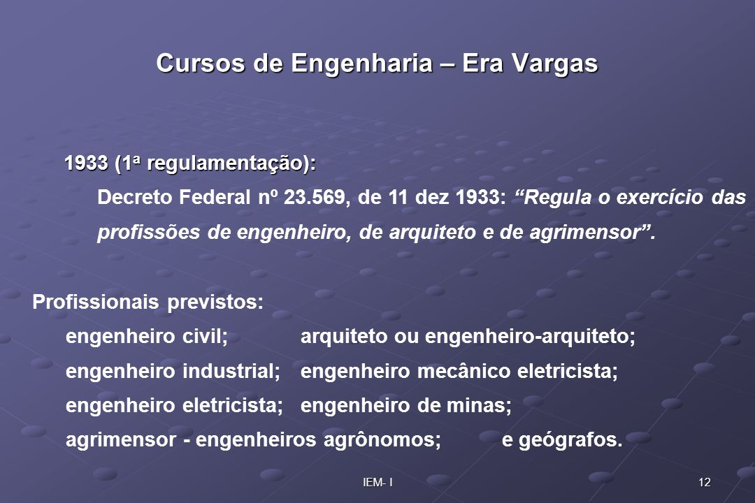 Cursos de Engenharia – Era Vargas