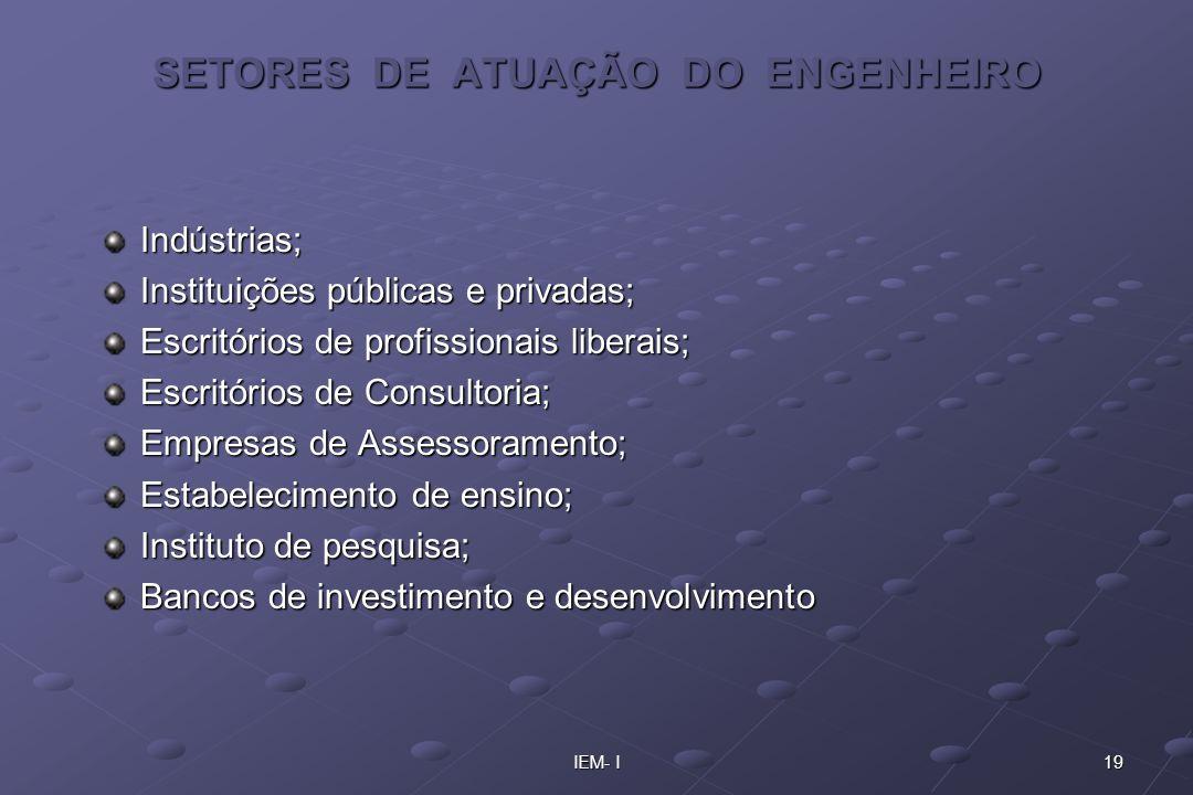 SETORES DE ATUAÇÃO DO ENGENHEIRO