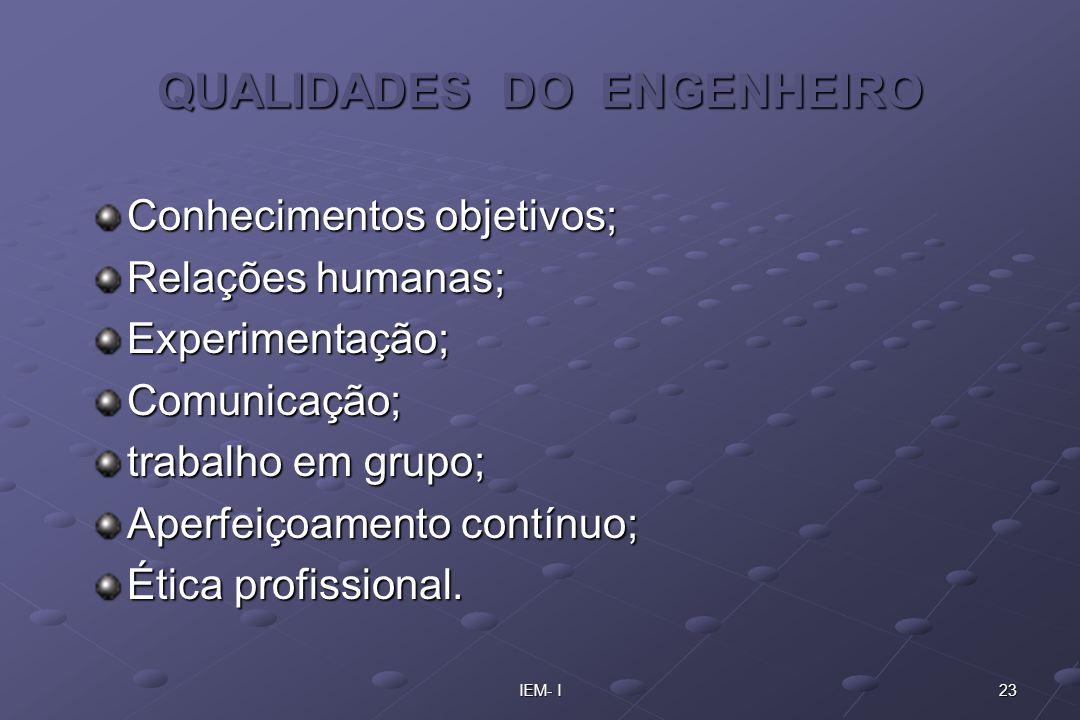 QUALIDADES DO ENGENHEIRO