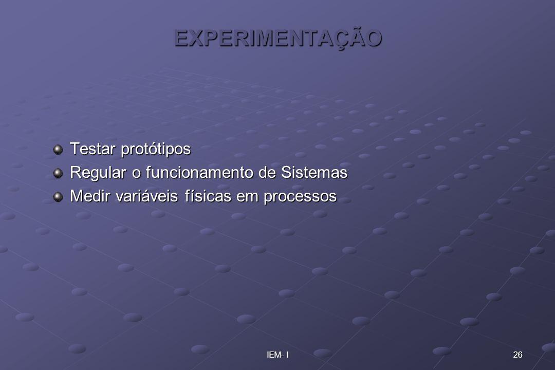 EXPERIMENTAÇÃO Testar protótipos Regular o funcionamento de Sistemas
