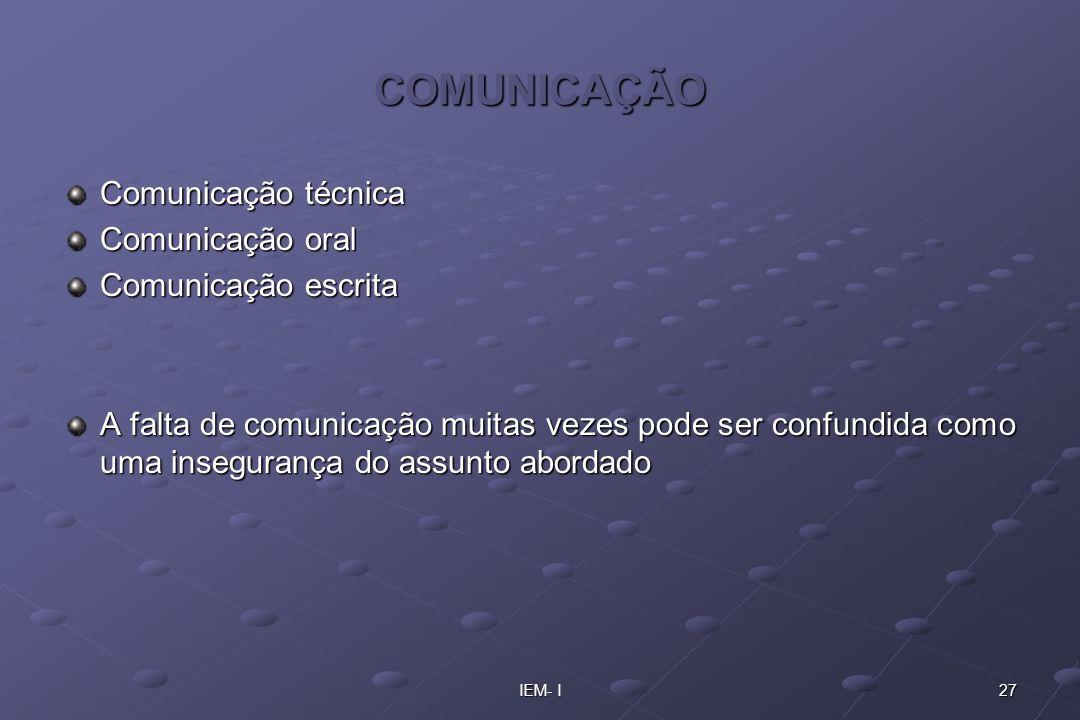 COMUNICAÇÃO Comunicação técnica Comunicação oral Comunicação escrita