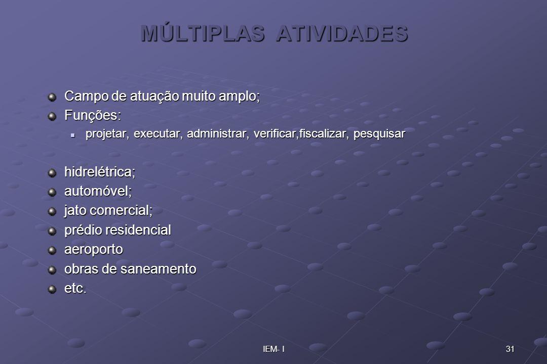 MÚLTIPLAS ATIVIDADES Campo de atuação muito amplo; Funções: