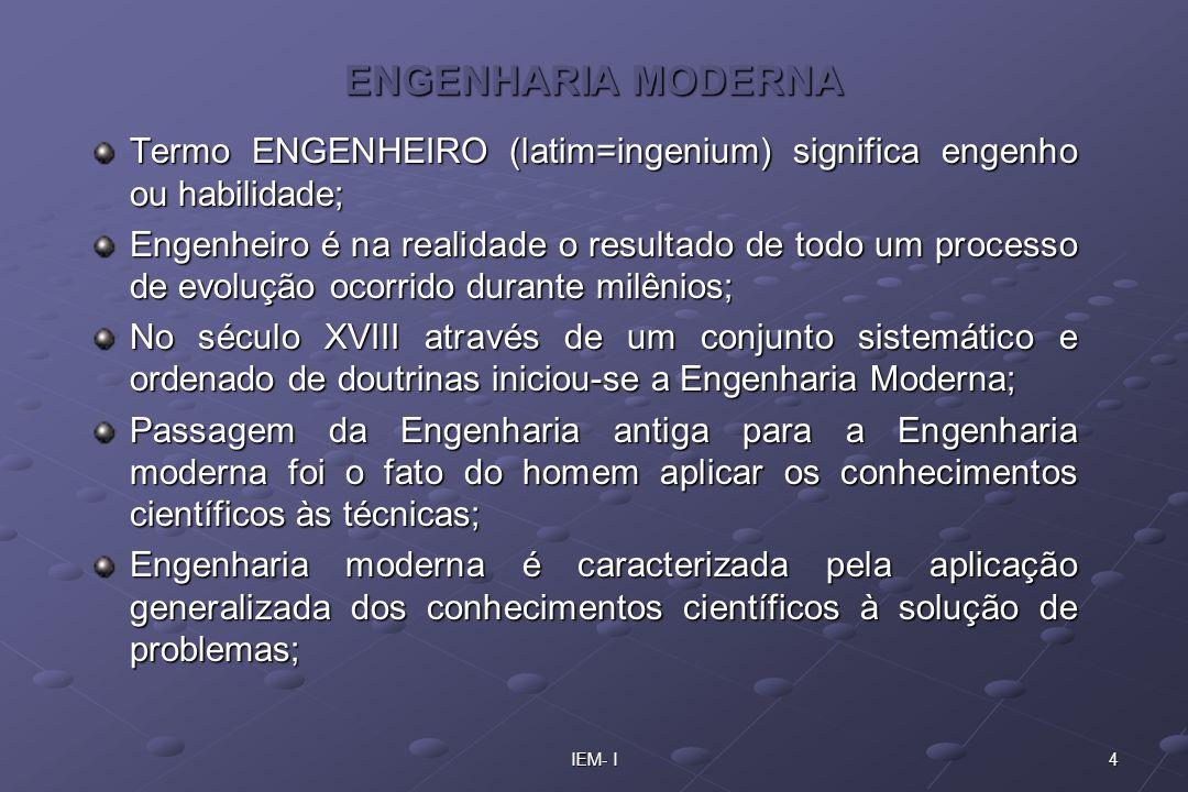 ENGENHARIA MODERNA Termo ENGENHEIRO (latim=ingenium) significa engenho ou habilidade;