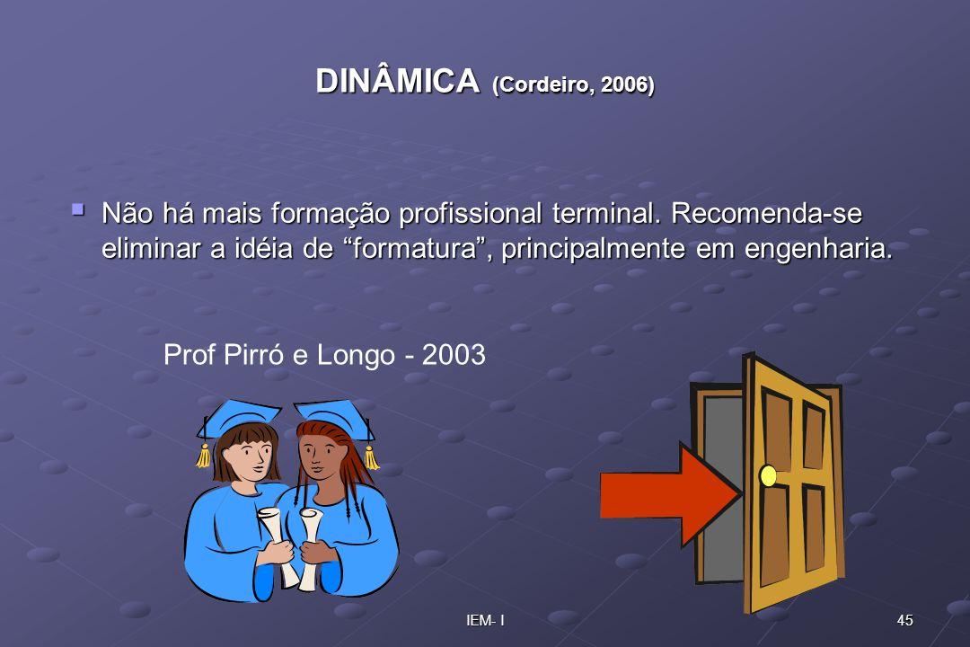 DINÂMICA (Cordeiro, 2006) Não há mais formação profissional terminal. Recomenda-se eliminar a idéia de formatura , principalmente em engenharia.