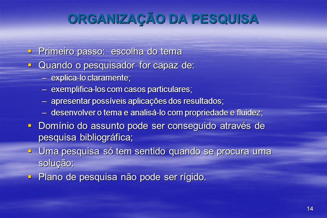 ORGANIZAÇÃO DA PESQUISA