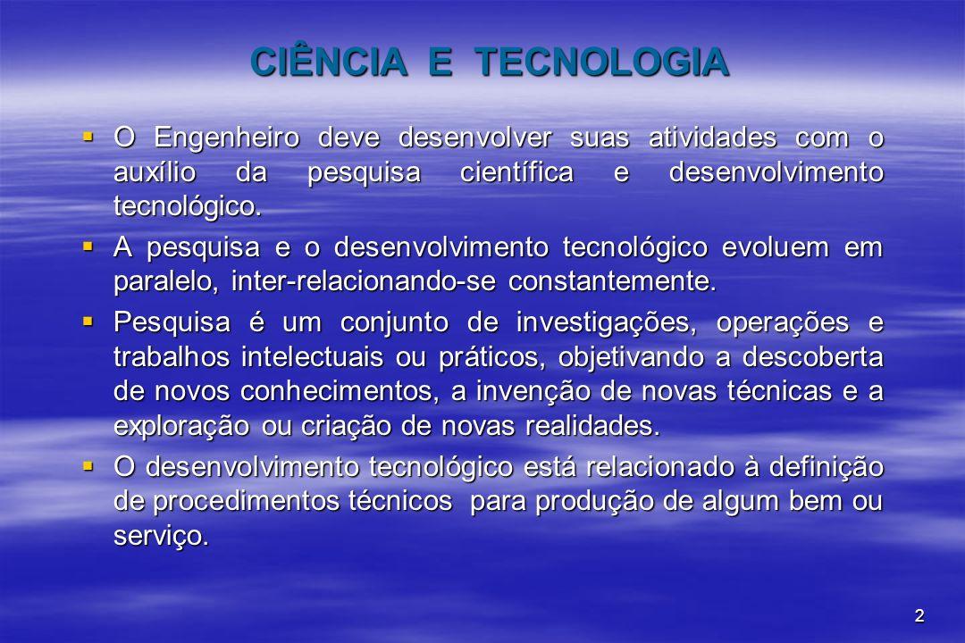 CIÊNCIA E TECNOLOGIA O Engenheiro deve desenvolver suas atividades com o auxílio da pesquisa científica e desenvolvimento tecnológico.