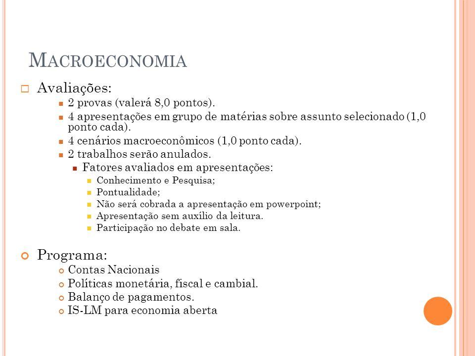 Macroeconomia Avaliações: Programa: 2 provas (valerá 8,0 pontos).