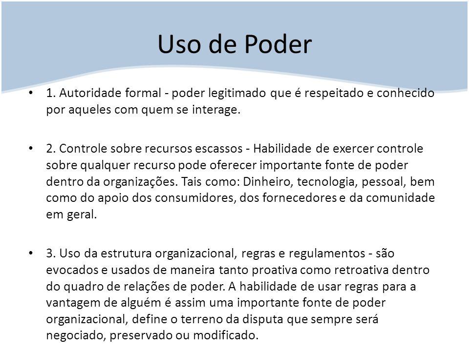 Uso de Poder 1. Autoridade formal - poder legitimado que é respeitado e conhecido por aqueles com quem se interage.