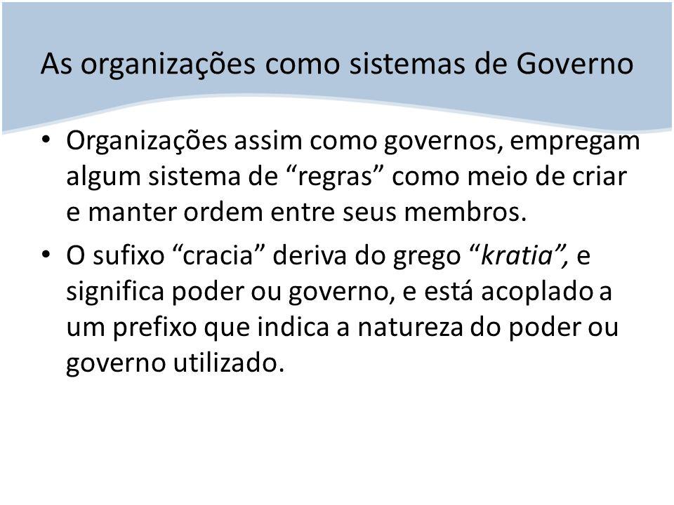 As organizações como sistemas de Governo