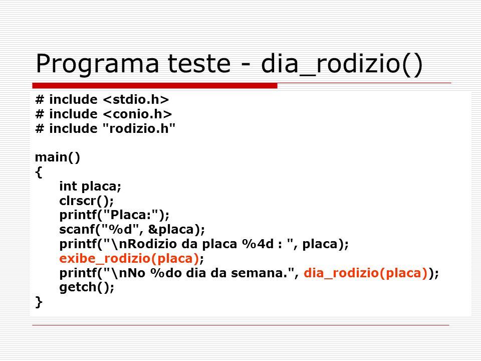 Programa teste - dia_rodizio()