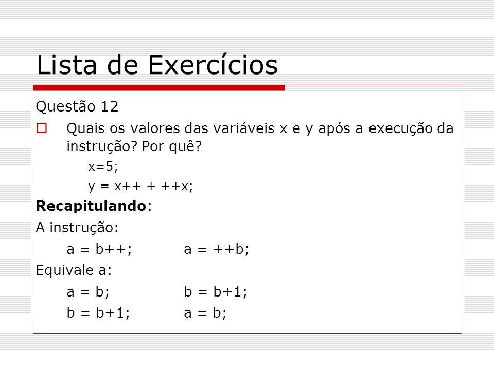 Lista de Exercícios Questão 12