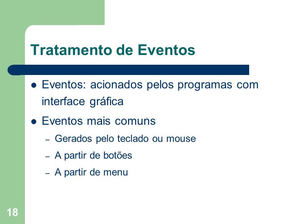 Tratamento de Eventos Eventos: acionados pelos programas com interface gráfica. Eventos mais comuns.