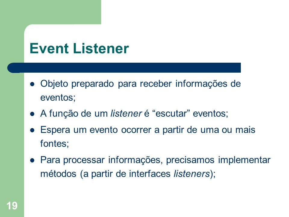 Event Listener Objeto preparado para receber informações de eventos;