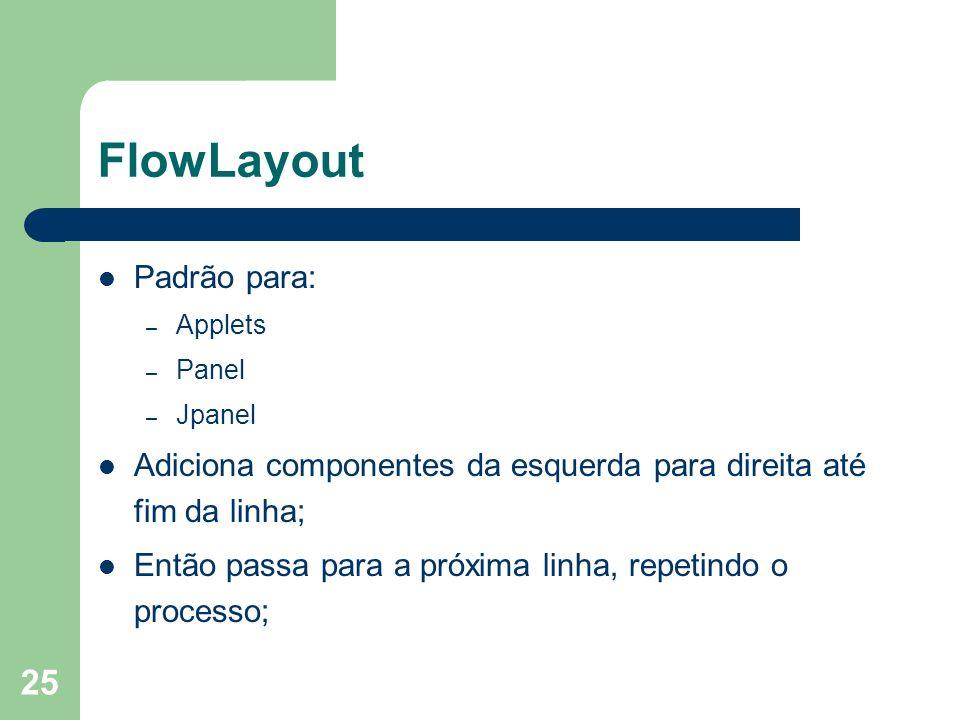 FlowLayout Padrão para:
