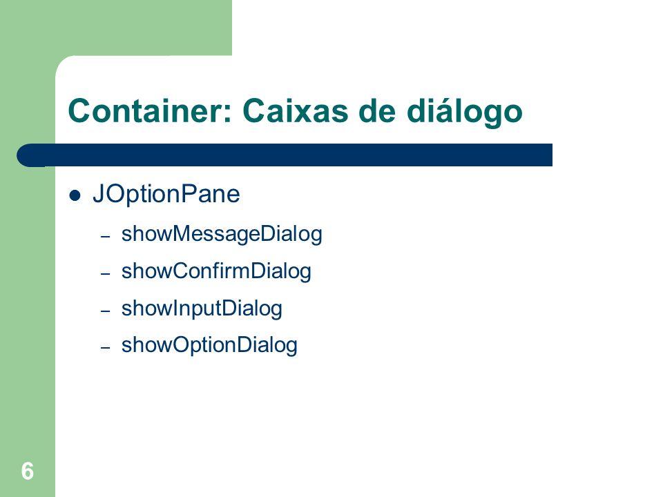 Container: Caixas de diálogo