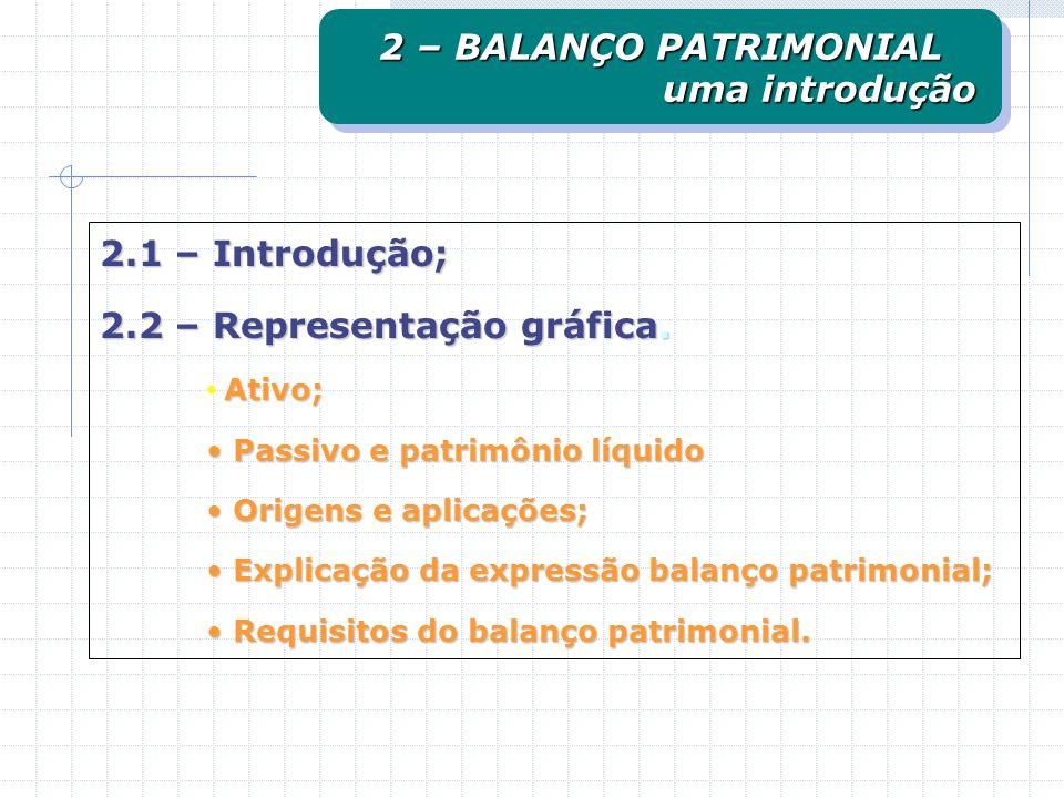 2 – BALANÇO PATRIMONIAL uma introdução