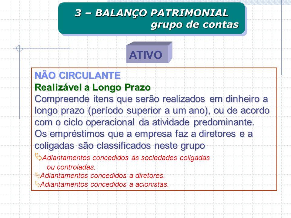 ATIVO 3 – BALANÇO PATRIMONIAL grupo de contas NÃO CIRCULANTE