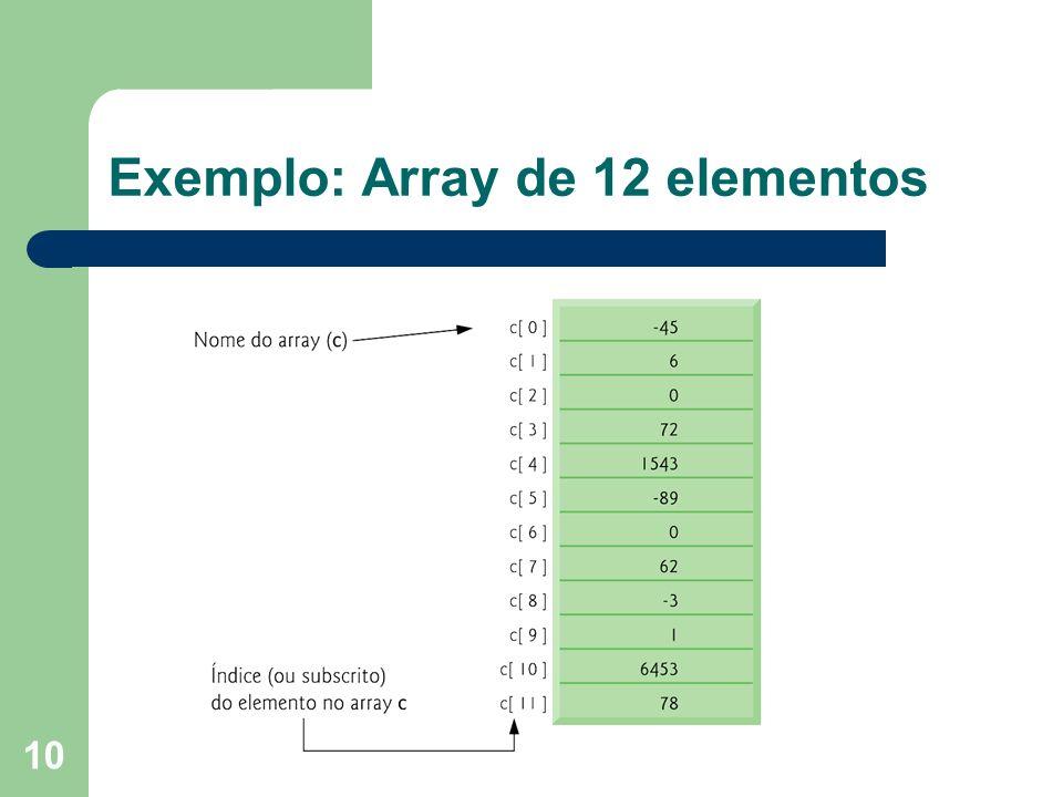 Exemplo: Array de 12 elementos