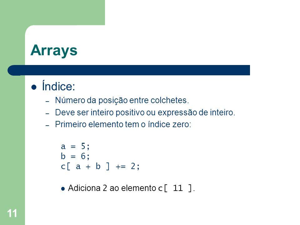 Arrays Índice: Número da posição entre colchetes.