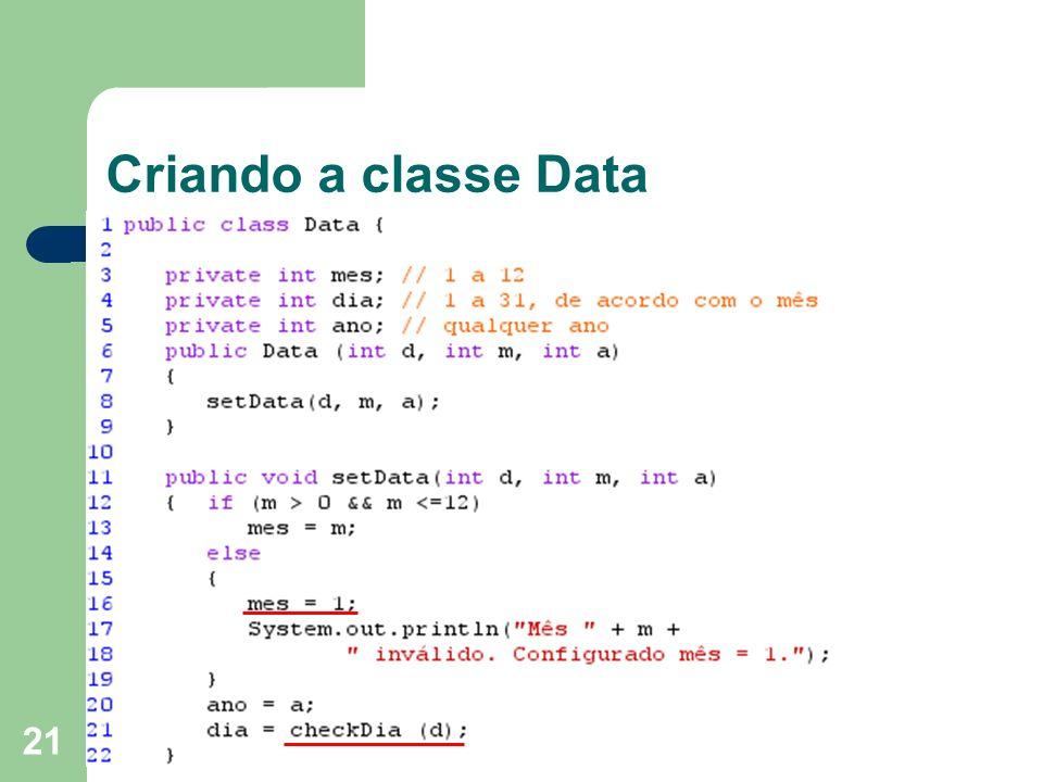 Criando a classe Data