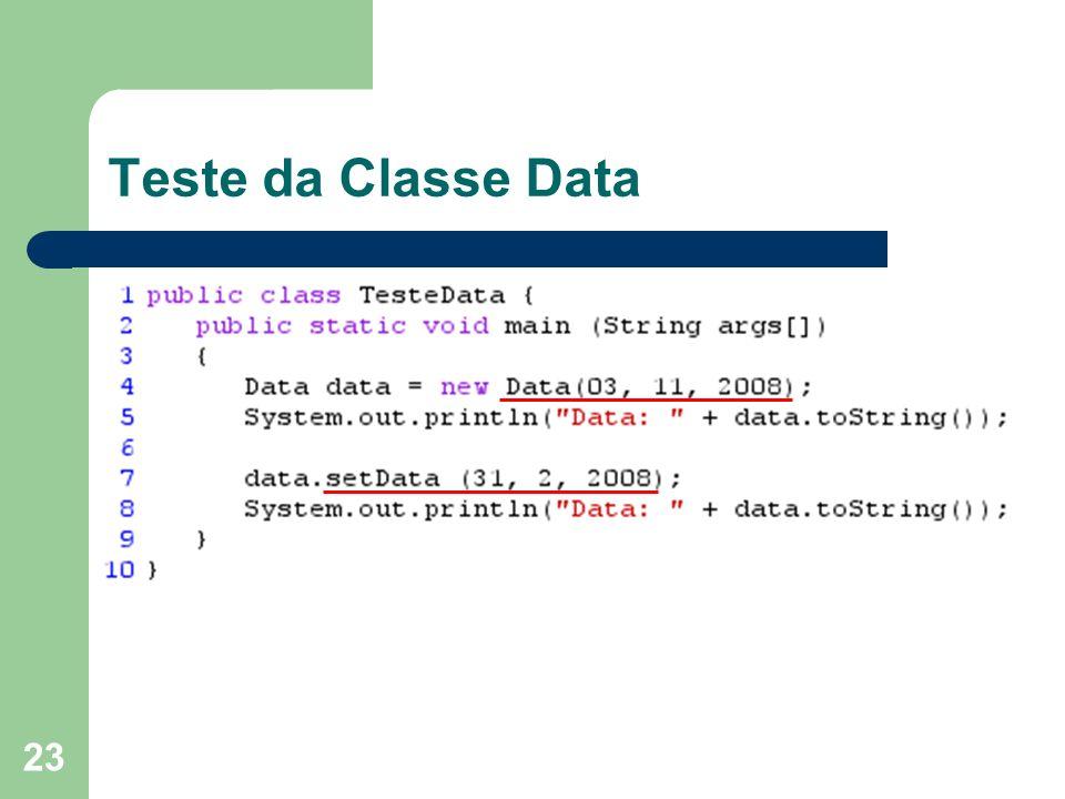 Teste da Classe Data