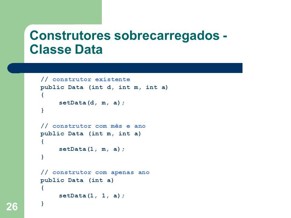 Construtores sobrecarregados - Classe Data