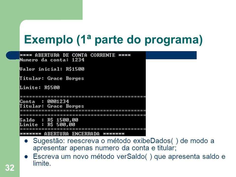 Exemplo (1ª parte do programa)