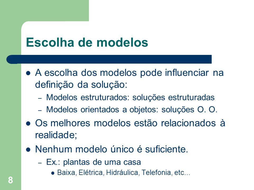 Escolha de modelos A escolha dos modelos pode influenciar na definição da solução: Modelos estruturados: soluções estruturadas.