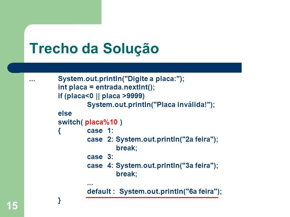 Trecho da Solução ... System.out.println( Digite a placa: );