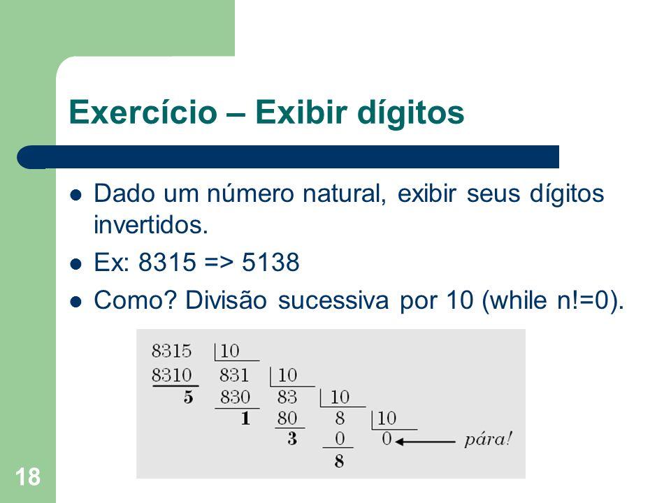 Exercício – Exibir dígitos