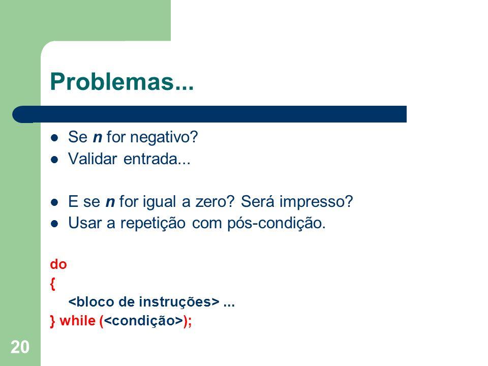 Problemas... Se n for negativo Validar entrada...