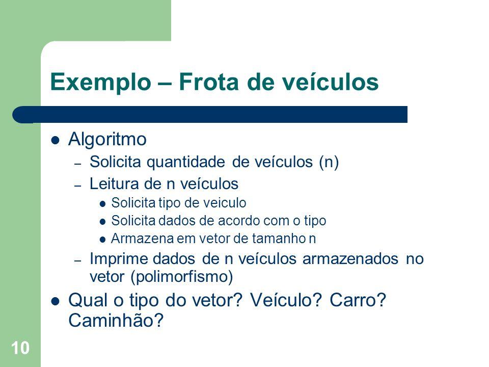 Exemplo – Frota de veículos