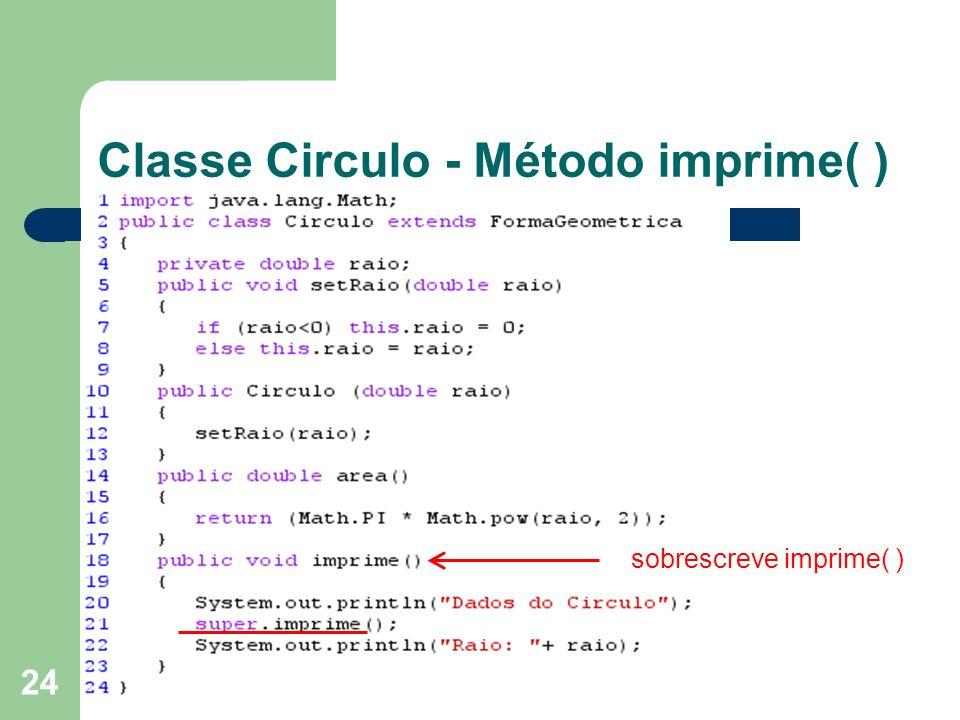 Classe Circulo - Método imprime( )