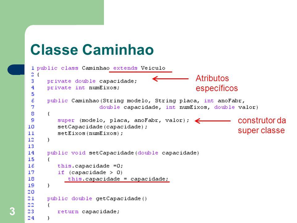 Classe Caminhao Atributos específicos construtor da super classe