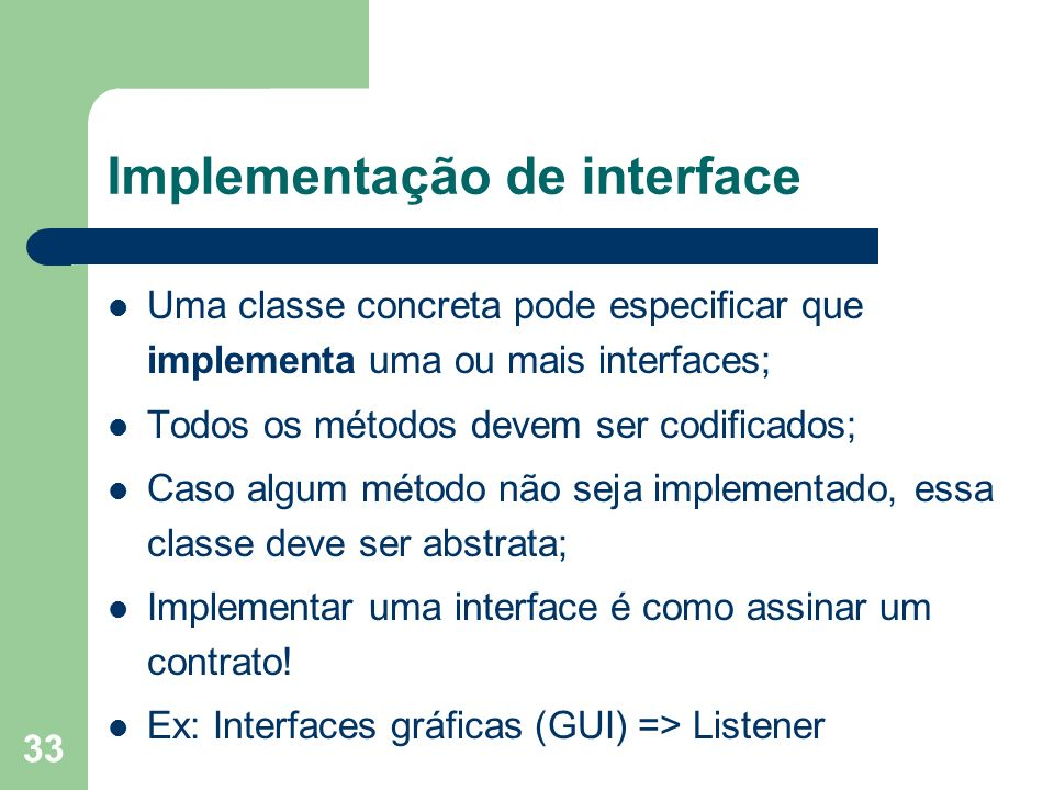 Implementação de interface